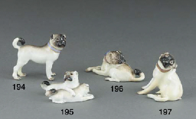 A Meissen model of pug-dog