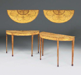 A PAIR OF IRISH SATINWOOD AND