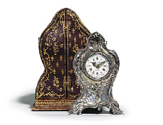 A French silver desk timepiece