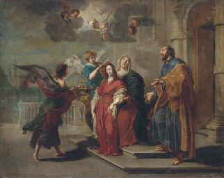 Angels preparing the Virgin fo