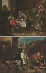 Peasants in a tavern; and Peas