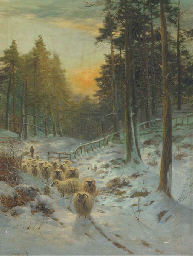 A shepherd and his flock in a