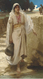 An Eastern girl fetching water