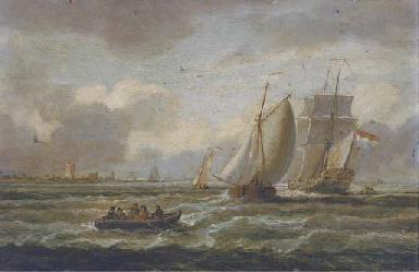 A Dutch Admiralty yacht amidst