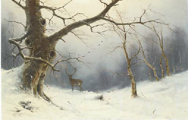 A stag in a winter landscape
