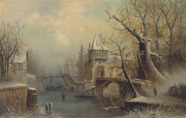 A winter townscape, with a fig