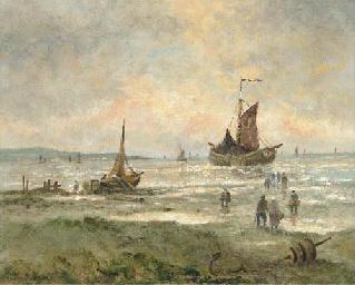 Figures near a fishing vessel