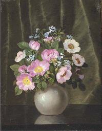 summer flowers in a grey vase