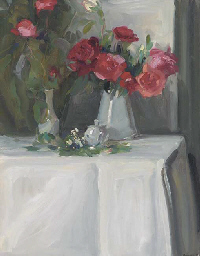 Still life of roses in a white