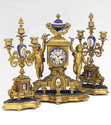 A French gilt-spelter and porc