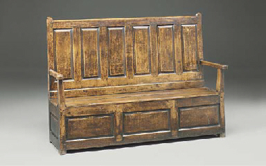 A Welsh oak box-seat settle