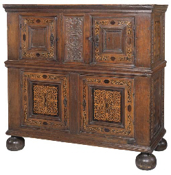 A FLEMISH OAK AND MARQUETRY CU