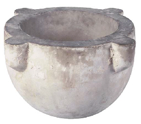 A LARGE WHITE MARBLE MORTAR