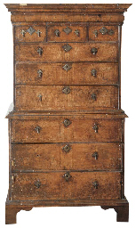 A WILLIAM AND MARY ELM TALLBOY