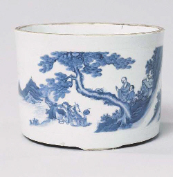 A CHINESE BLUE AND WHITE BRUSH