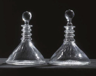 A PAIR OF SHIPS DECANTERS AND