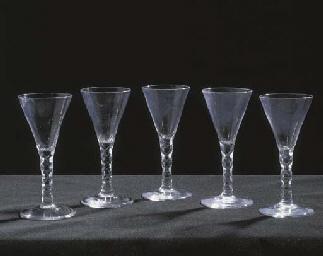 FIVE DRAWN-TRUMPET WINE-GLASSE