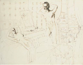 Two female nudes in a bedroom