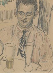 Study of a man seated at a tab