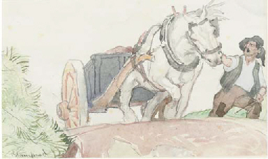 Farmer pulling a horse and car