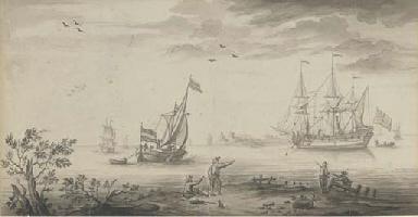 An English man-o'war and a Dut
