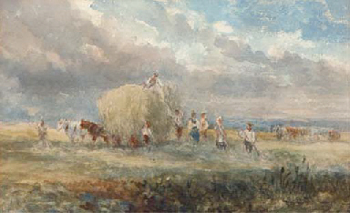 Harvesters loading the hay wag