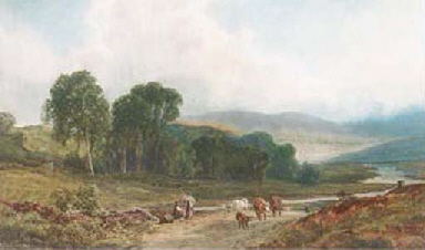 A drover and cattle in a Scott