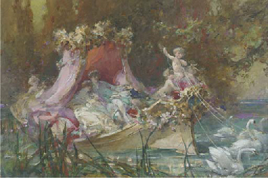 A lovers' barge drawn by swans