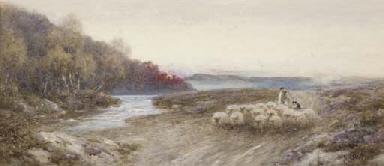 A shepherd and his flock retur