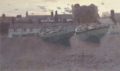 Boats on the foreshore at dusk