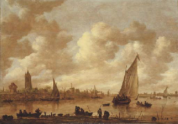 A view of Gorinchem with shipp