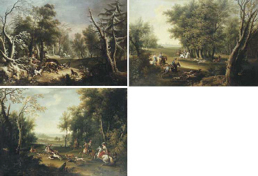 A boar hunt in winter; A stag