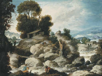 A rocky river landscape with f