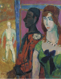 Circus figures; and Two women