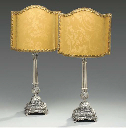 A PAIR OF VENETIAN SILVER CAND