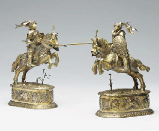 A PAIR OF GERMAN SILVER AND PA