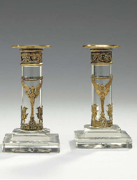A PAIR OF BRASS-MOUNTED GLASS