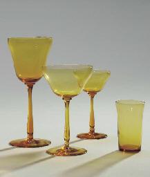 AN AMBER GLASS PART STEMWARE S