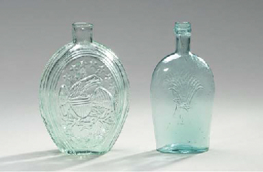 FIVE PICTORIAL BLUE GLASS FLAS