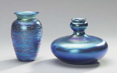 TWO IRIDESCENT BLUE GLASS VASE