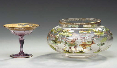 A GILT-DECORATED COLORED GLASS