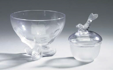 A GLASS BOWL TOGETHER WITH A G