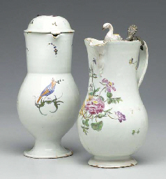 TWO PEWTER-MOUNTED PORCELAIN T