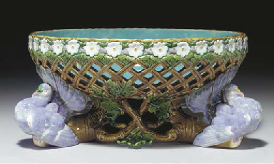 A MINTONS MAJOLICA RETICULATED