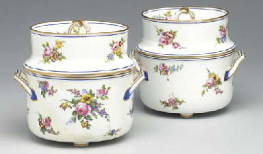 A PAIR OF SEVRES ICE PAILS TOG