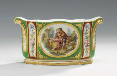 A SEVRES STYLE GREEN AND CLARE