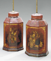 A PAIR OF CHINESE TOLE TEA CAN