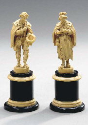 TWO FRENCH CARVED IVORY FIGURE