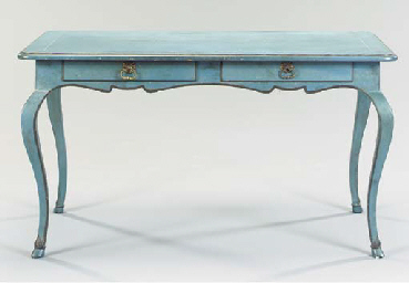 A LOUIS XV STYLE BLUE PAINTED