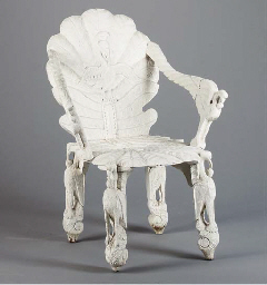 A WHITE PAINTED CARVED HARDWOO